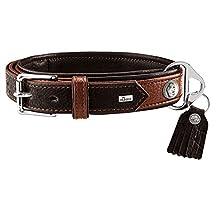 HUNTER CODY SPECIAL - Collare per cani in pelle, stile rustico, morbido, M-L, cognac/marrone scuro