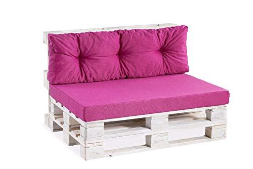 Palettenkissen Palettenauflagen Sitzkissen Rückenlehne glatt gesteppt (Set 120x80+120x40, Pink)