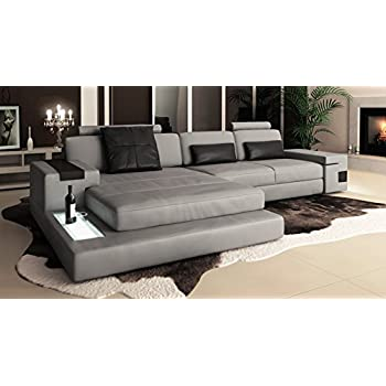 Ledersofa grau Wohnlandschaft Leder Sofa Couch U-Form ...