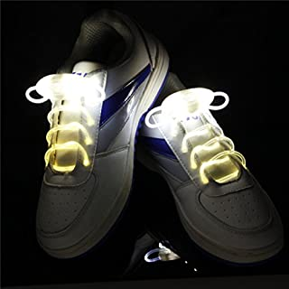 Bluelover LED Schnürsenkel Nacht Lauflicht auf Sicherheit Shoestring Multicolor Leuchtende Schnürsenkel-Weiß