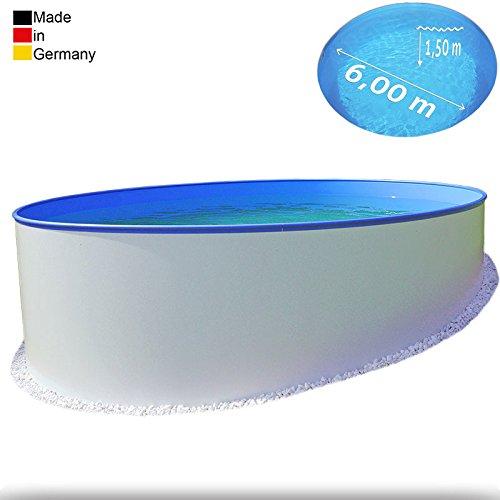 Ø 6,00 m Pool - Premium | Tiefe 1,50m | 0,6 mm Folie mit Keilbiese + 0,8 mm Stahlmantel | - Schwimmbecken Swimmingpool Rundpool Stahlwandbecken