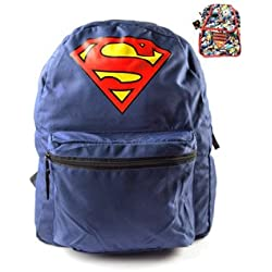 Superman Mochila Reversible ambos lados portátil Funda DC Comics reversible Logo Backpack Justice League Comic Diseño