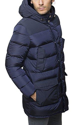 ADD | Piumino d'oca parka Add uomo lungo idrorepellente con zip e cappuccio MAM001S, Blu Blu