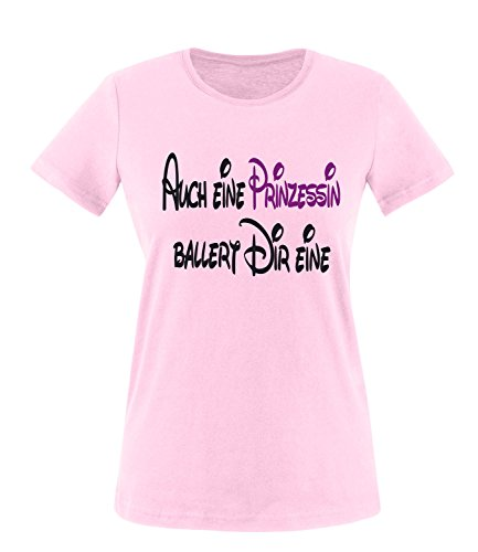 Luckja Auch eine Prinzessin ballert dir eine Damen Rundhals T-Shirt Rosa/Schwarz/Violett