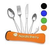 Nordicberry Premium Outdoor Reisebesteck und Campingbesteck aus hochwertigem Edelstahl mit Neoprentasche (Orange)