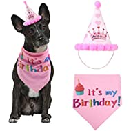 TEEPAO Dog Birthday Hat and Bandana Girl Set - AOLVO Adjustable Pet Dog Happy Birthday Hat & Cute Doggie Bandana Scarf Party Decorations - Princess & It is my Birthday - Pink