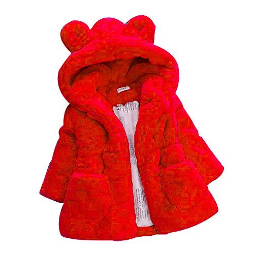 Odjoy-fan-cappotto caldo della tuta del cappuccio cappotto di inverno bambino bunny dei capretti-cappotto pelliccia sintetica neonata vestiti caldi spessi baby girl warm coat