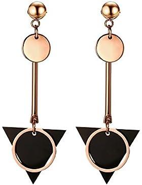 Sasavie-Dreieck-lange Anhänger Ohrringe-Creolen-Edelstahl-Rose Gold und schwarz-damen-Weihnachtsgeschenk