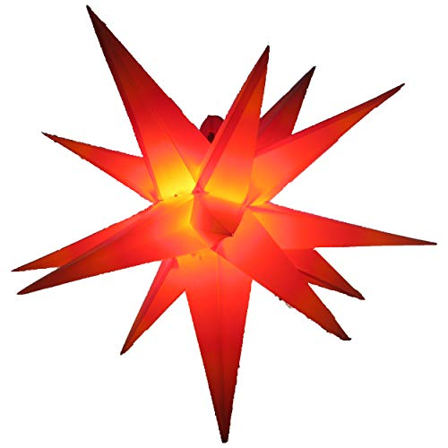 Außenstern Stern rot mit gelben Spitzen, wetterfest, ca. 55 cm Faltstern, hochwertige Verarbeitung