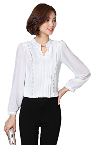 Bigood Femme Blouse Chiffon Uni Chemise OL V Col Slim Loose Blanc