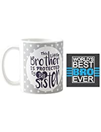 Yaya Cafe Birthday Gifts Combo, Little Brother is Protected by Big Sister Mug, Coaster