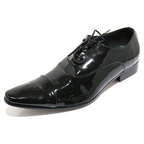 Robelli Designer Men's Faux Patent Leather Smart Lace-Up Dress Shoes – UK...
