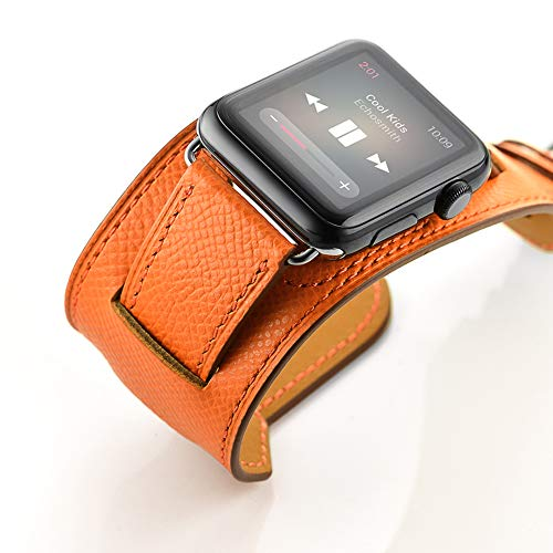 Schnalle Manschette (CLEAVE WAVES Iwatch Band 44Mm Echtes Leder Band Schnalle Manschette Armband Armbanduhr Band Adapter Kompatibel Apple Watch Serie 4,Orange)