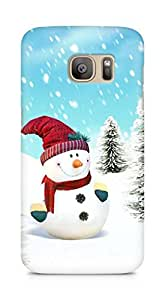 Amez designer printed 3d premium high quality back case cover for Samsung Galaxy S7 Edge (Snowman)