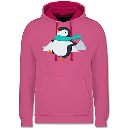 Wildnis - Happy Pinguin - Kontrast Hoodie Rosa/Fuchsia