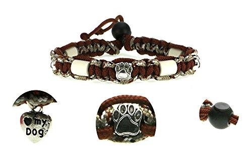 Zeckenschutzhalsband (26cm - 36cm)-EM Keramik Halsband Schutz gegen Zecken und Ungeziefer,100% Natur aus Paracord geknüpft mit stylischen Schmuckelementen,für Hunde und Katzen.Braun/Camouflage Nr. 109