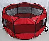 FZKJJXJL Pet Play Pen Portable Pieghevole Puppy Dog Pet Cat Coniglio Guinea Pig Box in Tessuto Gabbia Gabbia Tenda (Rosa),Red