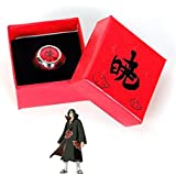 Yvonnezhang Anime Cosplay Naruto Anello con Scatola Akatsuki Itachi Pain Ring Metal Finger Adult Ninja Puntelli Accessori Coo