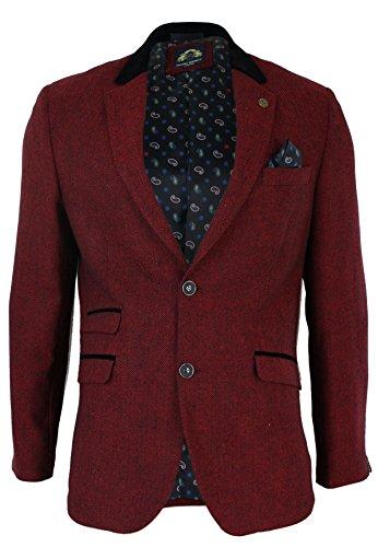 Veste blazer hommes slim fit bordeaux marron noir Rétro vintage Harris tweed