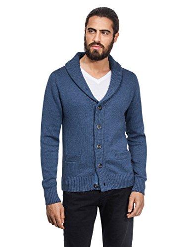 VB, Cardigan lavorato a maglia grossa, con collo sciallato blue-grey Large