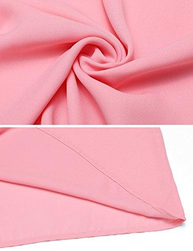 Trudge Damen Damen Einfarbig Chiffon Bluse Gerollte Ärmel Rundhalsausschnitt Plissee Blusenshirt Tops Klassic Rosa