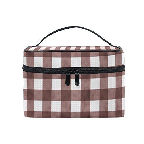 ALAZA Sac cosmétique Brown vichy à carreaux Checkered Stripe Maquillage Voyage cas de stockage organisateur