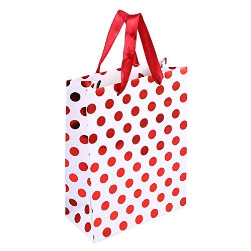 Toyvian Geschenktüten Polka Dots Verschiedene Goldene Geschenktüten mit Griff 20PCS (Red Dot)