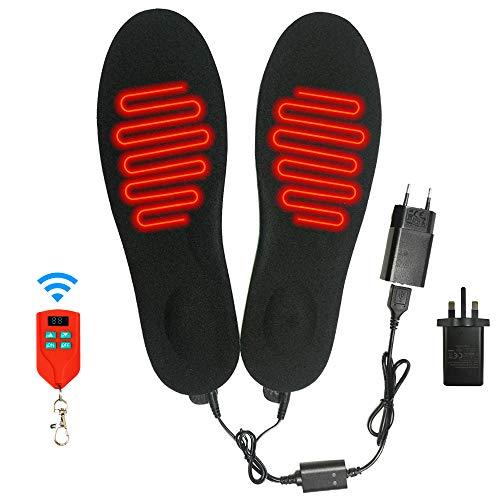 J-Jinpei Beheizbare Einlegesohlen Fußwärmer Beheizbare Thermosohle Kit mit Fernbedienung Schalter Drahtlose Wiederaufladbare batteriebetriebene Heizung Größe 10-15 (41-46), Schwarz (1 Paar)