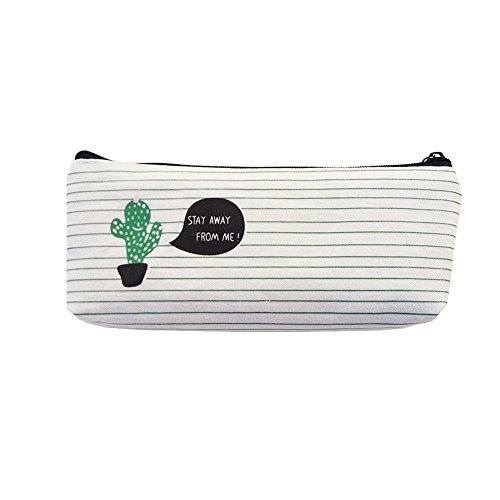 Aolvo Kawaii Pencil Case, cactus astuccio con cerniera borsa grande capacità Candy color tela donne make up Tools organizer portaoggetti per bambini scuola matita penna One Cactus