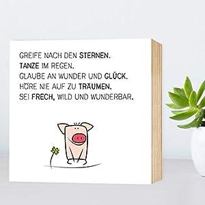 Glück-Schwein - Greife nach den Sternen - Holzbild 15x15x2cm zum Hinstellen/Aufhängen, echter Fotodruck mit Spruch und Illustration auf Holz - Wand-Bild Aufsteller zur Dekoration oder Geschenk