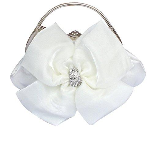 Signore Grande Sera Delle Signore Del Partito Satin Clutch Bag White