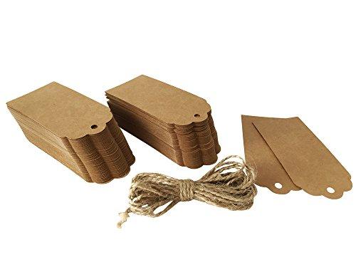 Yigo 120 x Geschenk Anhänger, Hängeetiketten, Anhängeetiketten, Etiketten, Schilder, 45 x 95 mm, mit 300 cm Hanfseil