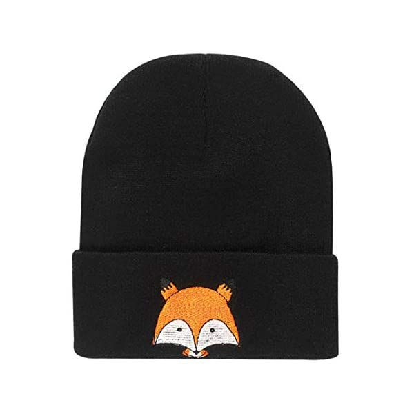 Fox Embroidery Pattern Hat Unisex Winter Warm Hat Knitted Cap Hats Soft Cap