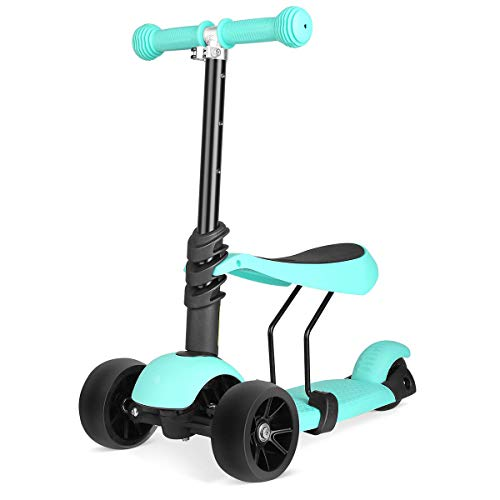 Baby Balance Bike 3-in-1 Kids Kick Scooter, Adjustable 3 Wheels Kick Scooter mit Removable & Adjustable Seat, LED Light up Wheels für Boys Girls im Alter von 2-6,A