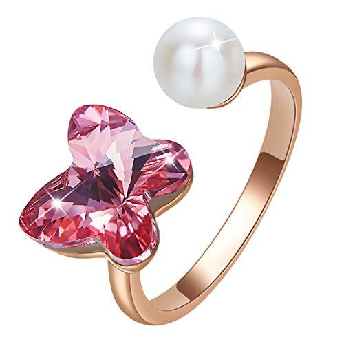 CRYSLOVE Ringe für Frauen, Elegante Schmetterlings-Kristall Ringe für Frauen, Partnerringe für Frauen, Schmuckringe für Frauen Mit Eleganter Box, Muttertagsgeschenk MEHRWEG (Kristall-ring-box)