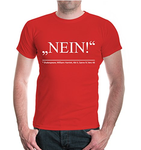 buXsbaum® T-Shirt Nein-Zitat von Shakespear Red-White