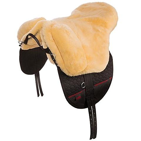 CHRIST Lammfellsattel Premium Plus, in Handarbeit gefertigter Sattel baumlos, Wollhöhe 30mm, herausnehmbare Polster für besseren Sitzkomfort, Größen: Pony in natur