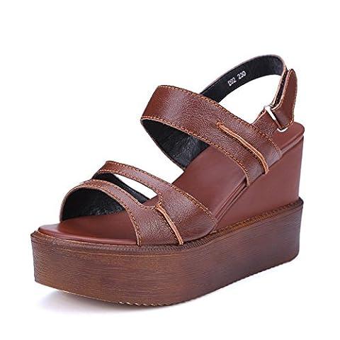 Adee massif pour femme open-toe en cuir Sandales - Marron - marron, 37 1/3