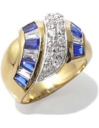 Gioie Bague Femme en Or 18 carats Blanc/Jaune avec Zircon Blanc et Zircon Bleu