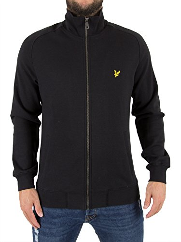 Lyle & Scott Herren Funnel Neck Zip Logo Jacke, Schwarz, X-Small (Mantel Funnel Neck Schwarz)