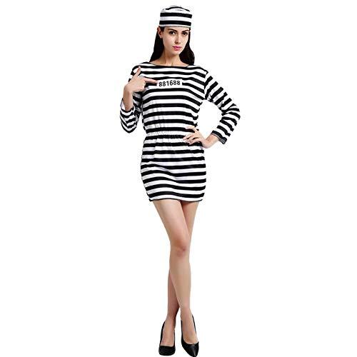 thematys Gefängnis Sträflingskostüm schwarz-weiß gestreift - Kostüm für Damen & Herren - perfekt für Fasching, Karneval & Halloween (Damen)