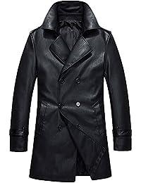 Mallimoda Uomo Cappotto Manica Lunga Giacca di Pelle PU Doppio Petto Slim  Fit Giacca Trench Coat 8767e88fcf3