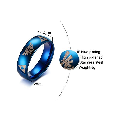 ERDING Unisex/Verlobungsring/Freundschaftsring/Stilvoller Blauer Ring für Männer The Legend of Zelda Logo Edelstahl Boy Party Ring Cool Geometry Männerschmuck