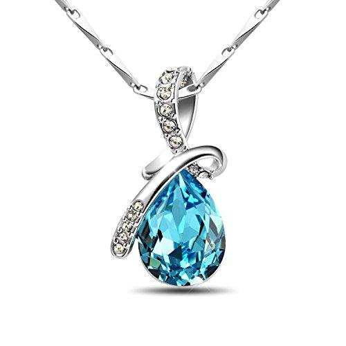 T400 jewelers 925 argento sterling goccia in cristallo swarovski collana donna moda gioielli regali per lei, 43 cm