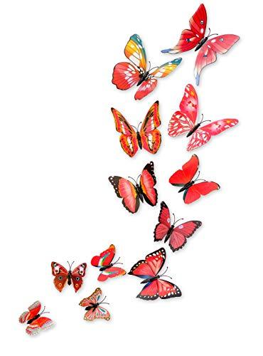 MissBirdler 24 Stk. Schmetterlinge 3D Effekt Kühlschrank Schmetterling Magnet mit Klebepunkten Wandtattoo rot Wand Aufkleber Dekoration Einrichtung Wohnzimmer Schlafzimmer Küche ca.: 5 bis 15cm