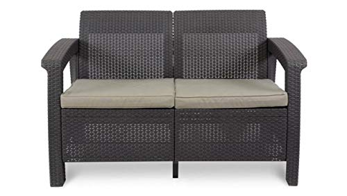 JUSTyou Corfu Sofa Couch Gartenbank + Tisch in Rattan-Optik Braun Taupe