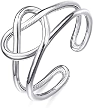 Sllaiss 925 Sterling Silver Celtic Knot Rings for Women Vintage Heart Love Knot Knuckle Rings Adjustable Open