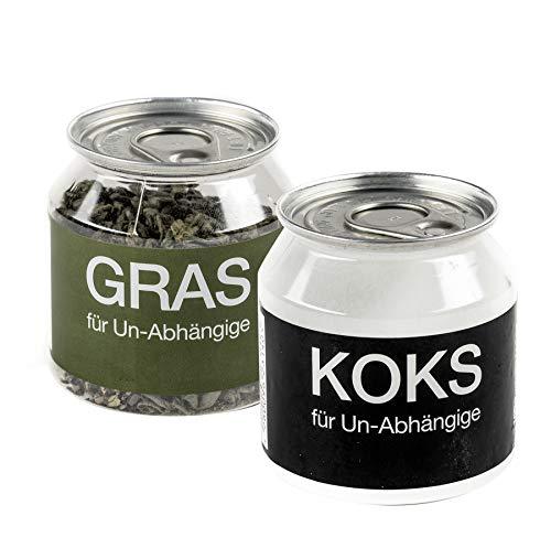 Close Up Gras und KOKS für Un-Abhängige im 2-er Set - Fun Scherzartikel, Tee & Traubenzucker (Kokain Kostüm)