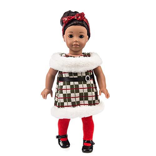 ETbotu Puppen-Kostüm-Set für 45,7 cm amerikanische Mädchen-Puppen, zartes Weihnachts-Element (ohne Puppe), als Weihnachts-, Geburtstagsgeschenk für Kinder Q-245 Plaid Shawl ()
