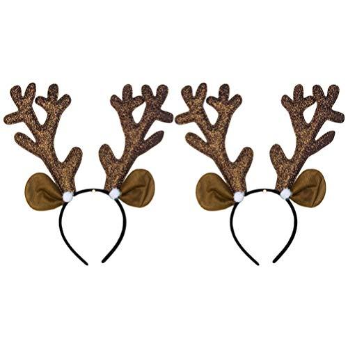 NUOBESTY 2 piezas renos navidad aros pelo cornamenta